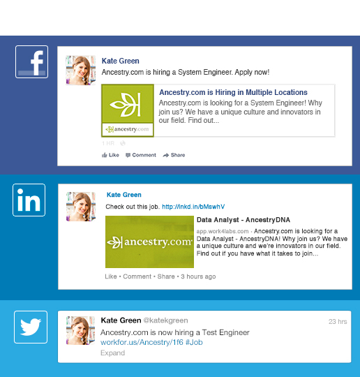 Use social recruiting tools to broadcast jobs to employee networks